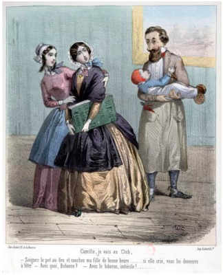 Women leaving their husbands to look after children while they go to their club, 1848 (colour litho).png